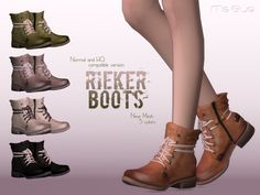 Cool Rieker Boots in leather. Shoelace is attached around the ankle, inside zip…