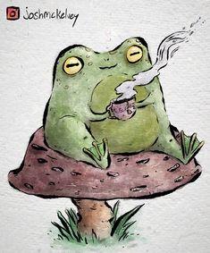Cool Art Drawings, Art Drawings Sketches, Animal Drawings, Mushroom Drawing, Mushroom Art, Arte Indie, Indie Art, Frog Drawing, Frog Art