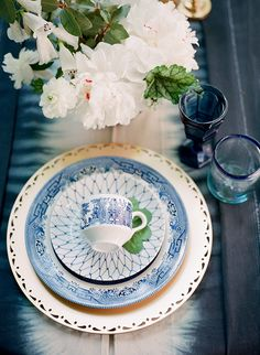 inspiration | indigo dyed table clothes and blue place settings | heather payne photography | via: magnolia rouge Plates, Tableware, Plate, Dinnerware, Tablewares, Dish, Dishes, Dinner Plates, Porcelain Ceramics
