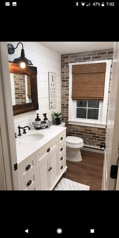 Best Rustic Bathroom Decor Ideas to Attempt in Your Home - Kids Bathroom Ideas – Enhancing kids washroom can be extremely fun. Every edge of the washroom ha - Bad Inspiration, Bathroom Inspiration, Casa Magnolia, Brick Veneer Wall, Fake Brick Wall, Bathroom Kids, Brick Bathroom, Bathroom Wall Ideas, Bathroom Designs
