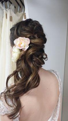 Romantic half up half down hair by Beyond Beautiful by Heather, Savannah, GA