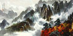 문정웅 그림『금강산 만물상』, 그는 1944년 평양에서 출생. 평양미대를 졸업 후, 만수대창작사에서 40여년간 활동하였다. 그의 작품은 색채가 풍부하고 필치가 활달하며 특히 금강산의 가을 North Korea, Chinese Art, Niagara Falls, Sci Fi, Asia, Waves, Nature, Outdoor, Outdoors