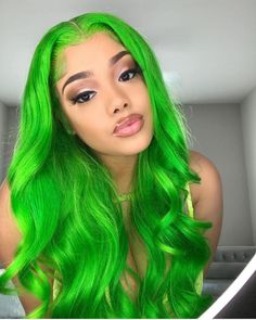 Front Lace Wig Straight/Wave Green Color Human Hair Wig With Baby Hair - Colorful Wig Baddie Hairstyles, Pretty Hairstyles, 100 Human Hair, Human Hair Wigs, Lace Front Wigs, Lace Wigs, Hair Colorful, Curly Hair Styles, Natural Hair Styles