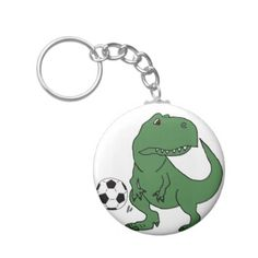 Funny Green T-rex Dinosaur Playing Soccer Keychain - cool gift idea unique present special diy