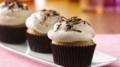 Looking for a gluten-free Italian-inspired dessert? Try these decadent tiramisu cupcakes, topped with whipped cream and chocolate shavings. Gluten Free Cupcakes, Gluten Free Sweets, Gluten Free Baking, Gluten Free Recipes, Gf Recipes, Diabetic Recipes, Pasta Recipes, Cooking Recipes, Italian Desserts