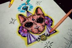 Cat Design Tattoo #Cat #Designs #bald #color