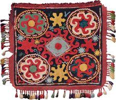 antique LAKAI ILGICH XIXth century, Lakai, Uzbekistan, silk embroidery, circa cm 61X56  ref 7252