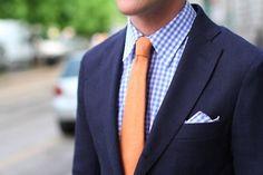 Navy Suit, Blue Gingham Shirt & Pocket Square, Orange Tie How nice! Orange Shirt, Orange Tie, Coral Tie, Peach Tie, Cobalt Blue Suit, Blue Gingham Shirts, Suit Fashion, Mens Fashion, Suit And Tie