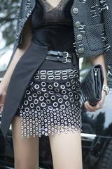 Punk Rock Mini Metal Ring Cutout Leather British Style Skirt
