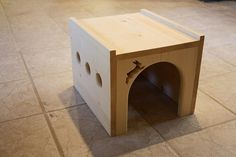 Deluxe Bunny Rabbit House by BunnyRabbitToys on Etsy Maybe my hubby cam build me one! Hay Feeder, Rabbit Toys, Pet Rabbit, Toys Shop, New Shop, Guinea Pigs, Ideas, Design, Stains