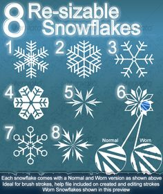 8 Resizable Snowflakes — Photoshop PSD #worn #photoshop brushes • Available here → https://graphicriver.net/item/8-resizable-snowflakes/118901?ref=pxcr