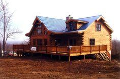 Mountain View Log Home - traditional - exterior - kansas city - Schutt Log Homes