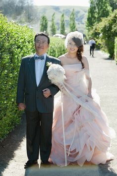 pink wedding gown by vera wang - carnival-theme-wedding-036 - via ruffled blog