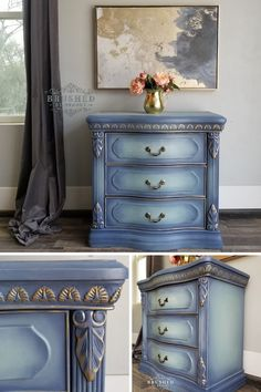 Blue and Gold Chalk Paint Side Table DIY Tutorial Brushed by Brandy Blue and Gold Chalk Paint Side Table DIY Tutorial Brushed by Brandy Brushed by Brandy DIY Furniture Painting nbsp hellip makeover blue Blue Painted Furniture, Gold Furniture, Chalk Paint Furniture, Colorful Furniture, Shabby Chic Furniture, Diy Furniture Renovation, Furniture Makeover, Blue Chalk Paint, Gold Paint
