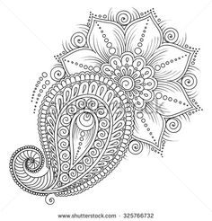Pattern for coloring book. Coloring book pages for kids and adults.Vector abstract floral elements in indian style. Mehndi Tattoo, Henna Mehndi, Hand Henna, Mehendi, Doodle Designs, Henna Designs, Flower Designs, Pattern Coloring Pages, Coloring Book Pages