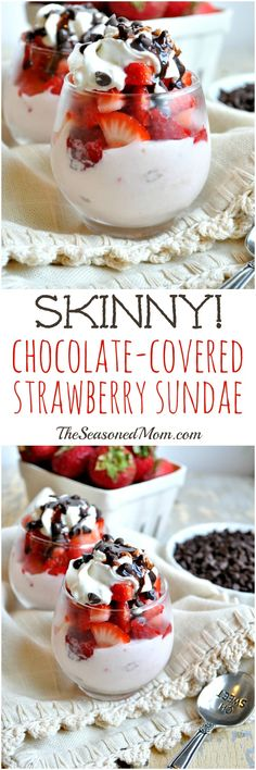 Indulge guilt-free with a rich and creamy Skinny Chocolate-Covered Strawberry Sundae! While it tastes like a decadent dessert, this sweet treat is low in calories, high in protein, and packed with… Desserts Pauvres En Calories, Low Calorie Desserts, No Calorie Snacks, Low Calorie Recipes, Low Calorie Cake, Healthy Desserts, Just Desserts, Dessert Recipes, Snacks Recipes