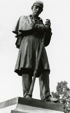 Soldier at Rest, (sculpture) by Martin Milmore 1844-1883. Bronze with a granite base. Located in Claremont New Hampshire
