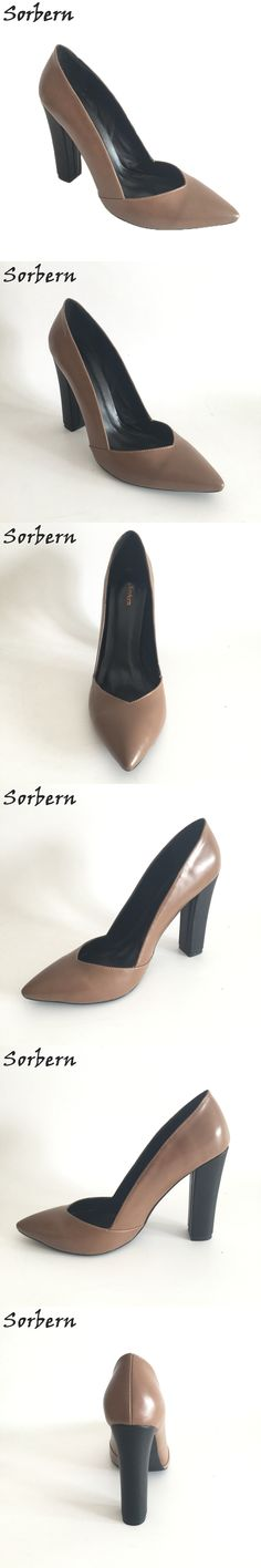 Sorbern Large Size Women Pumps Chunky Heels Shoes Ladies Patched Pointed Toe Slip On Custom Color Chaussure Femme Shoes