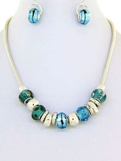 Photo: Pandora style bead charm necklace in turquoise & silver. $22 - 5/8 inch drop - Murano glass beads - 3/4 inch L earrings - lobster claw closure - fish hook earrings - 18 inch necklace length