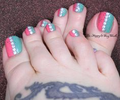 half and half pedicure with holographic studs | Be Happy and Buy Polish http://behappyandbuypolish.com/2015/06/08/12-12-pedicure-with-holographic-studs/