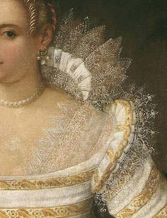 16th c. Queen Elizabeth - great closeup of the distinction between the partlet and the ruff