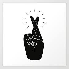 Fingers Crossed by Beetle Ink Co. Tags: Drawing Black-and-white Minimalism Concept Illustration Fingers Crossed Fingers-crossed Good-luck Luck Hand Hand Illustration, High Five, Simbolos Tattoo, Tattoos, Libra Art, Sagittarius, Cross Art, Black And White Canvas, Crossed Fingers