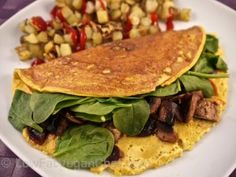 Low Fat Vegan Silken Tofu Omelette With Mushrooms And Spinach