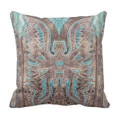 Turquoise Western Leather Look Throw Pillow