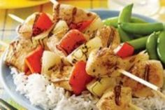This easy chicken kebab recipe features chicken marinated in a mixture of yogurt, lemon juice and seasonings, then grilled on skewers along with red pepper and onion. Serve with pita bread, rice and peas to round out the meal. Kebab Recipes, Grilling Recipes, Healthy Recipes, Easy Chicken Kebab Recipe, Chicken Recipes, Chicken Kabobs, Yogurt Marinated Chicken, Yum Yum Chicken, Turkey Recipes