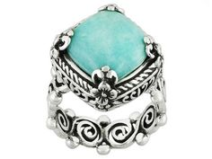 Artisan Gem Collection Of Bali(Tm) Square Cushion Blue Amazonite Sterling Silver Ring