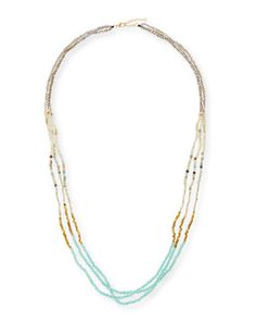 Colorblock+Multi-Bead+Necklace,+Mint+by+Panacea+at+Neiman+Marcus.