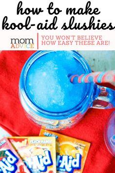 How to Make an easy DIY Slushie With KOOL-AID at home- MomAdvice.com Milkshake Recipes, Smoothie Recipes, Lunch Smoothie, Protein Smoothies, Fruit Smoothies, How To Make Slushies, Kool Aid Flavors, Homemade Slushies, Kid Drinks