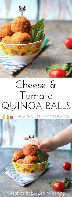 These cheese and tomato quinoa balls are a great finger food for baby led weaning but will be enjoyed by the whole family. Lunch box friendly. #blw #babyledweaning #kidfood #kidsfood #healthykidsfood #lunchbox #lunchboxfriendly
