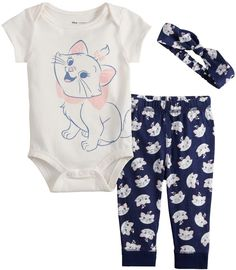 Disneyjumping Beans Disney's Aristocats Baby Girl Graphic Bodysuit, Print Pants & Headband Set by Jumping Beans