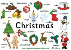 My Everyday English: Christmas vocabulary English Christmas, Christmas Words, Days Until Christmas, Merry Christmas And Happy New Year, Christmas And New Year, Xmas, Christmas Posters, Christmas Things, Christmas Activities
