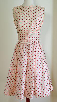 Vintage 1950's Lanz Polka Dot Dress - red and white polka dot cinch-waist sundress