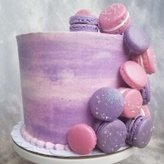Macaron Cake - Next Door Dessert's Party Cakes - Macaron 14th Birthday Cakes, Pink Birthday Cakes, Birthday Cakes For Teens, Homemade Birthday Cakes, Mom Birthday, Birthday Bash, Macarons, Macaron Cake, Violet Cakes