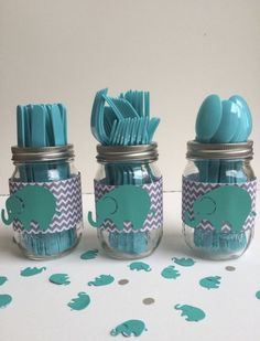 Excited to share this item from my #etsy shop: Elephant utensil jars chevron