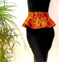 African Wax Print Peplum Belt by honorebel on Etsy