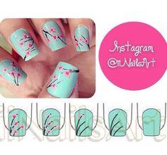 Blossom nail art.