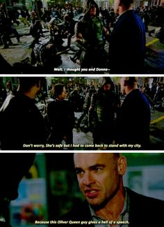 """""""I had to come back to stand with my city. Because this Oliver Queen gives a hell of a speech"""" - Quentin, Oliver, John and Lyla Supergirl Dc, Supergirl And Flash, Dc Comics, Arrow Season 4, David Ramsey, Arrow Tv Series, Dinah Laurel Lance, Arrow Cast, Arrow Oliver"""
