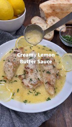 Lemon Sauce For Fish, Lemon Butter Sauce Pasta, Lemon Garlic Sauce, Lemon Butter Chicken, Chicken Creamy Sauce, White Sauce For Fish, Seafood Butter Sauce Recipe, Easy Sauce For Chicken, Creamy Sauce For Fish