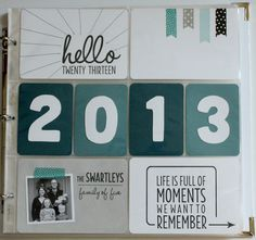 """Project Life 2013: the title page-love the washi tape banners and the stitching on the """"hello"""" card."""