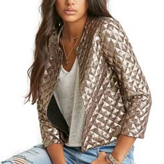 Women Gold Sequins 3/4 Sleeve Open Stitch O-neck Solid Polyester and Cotton Slim Regular Jacket