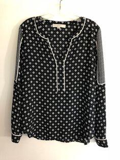 a6701d38e5 Ann Taylor LOFT women size M blouse long sleeve v-neck boho top Black white  1015
