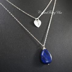 Layered Necklace - Lapis Necklace - Lapis Lazuli Jewelry - Sterling Silver Necklace - Initial Necklace - Stamped Heart Tags.