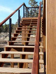 Black Aluminum Cable Railing Systems - Contemporary - Staircase - Sisters, Oregon - Stainless Cable & Railing, Inc.
