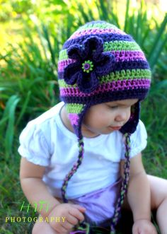 Purple Striped Hat, Crochet Hat for Girls, Women Crochet Hat, Purple and Green Hat with Flower and Earflaps, Photography Prop