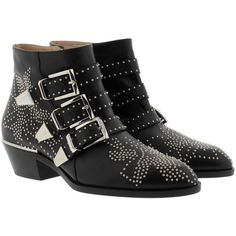 Chloé Boots & Booties - Susanna Nappa Boots Black Silver - in black -... (4,705 MYR) ❤ liked on Polyvore featuring shoes, boots, ankle booties, ankle boots, black, black buckle booties, pointy-toe ankle boots, black ankle booties, short boots and black booties
