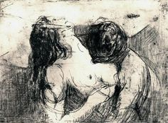 Edvard Munch The Kiss - drawing.